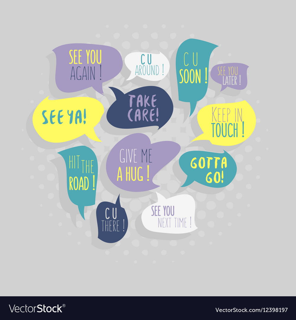 Most Common Used Typical Good-Bye Phrases On vector image