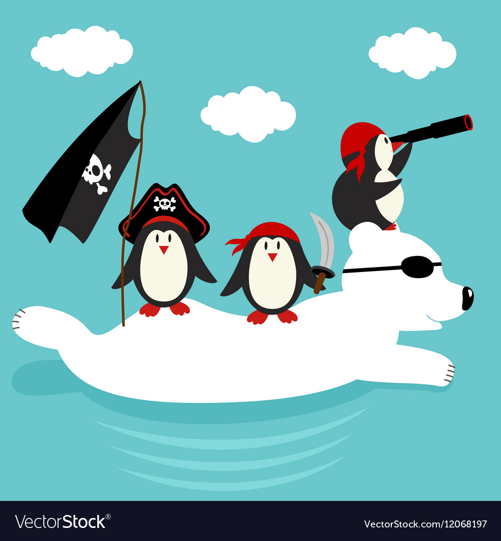 Penguins pirates swim on polar bear