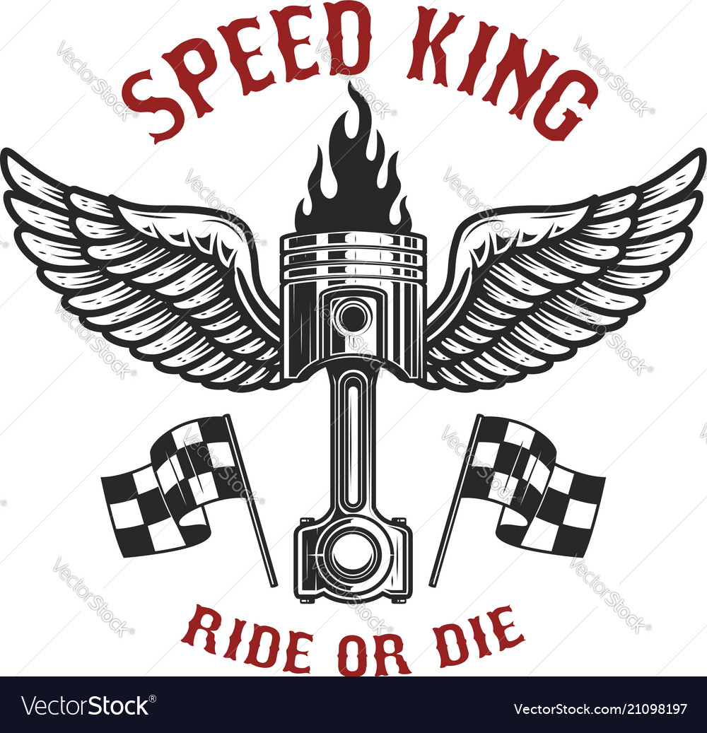 Speed King Car Piston With Wings Design Element Vector Image