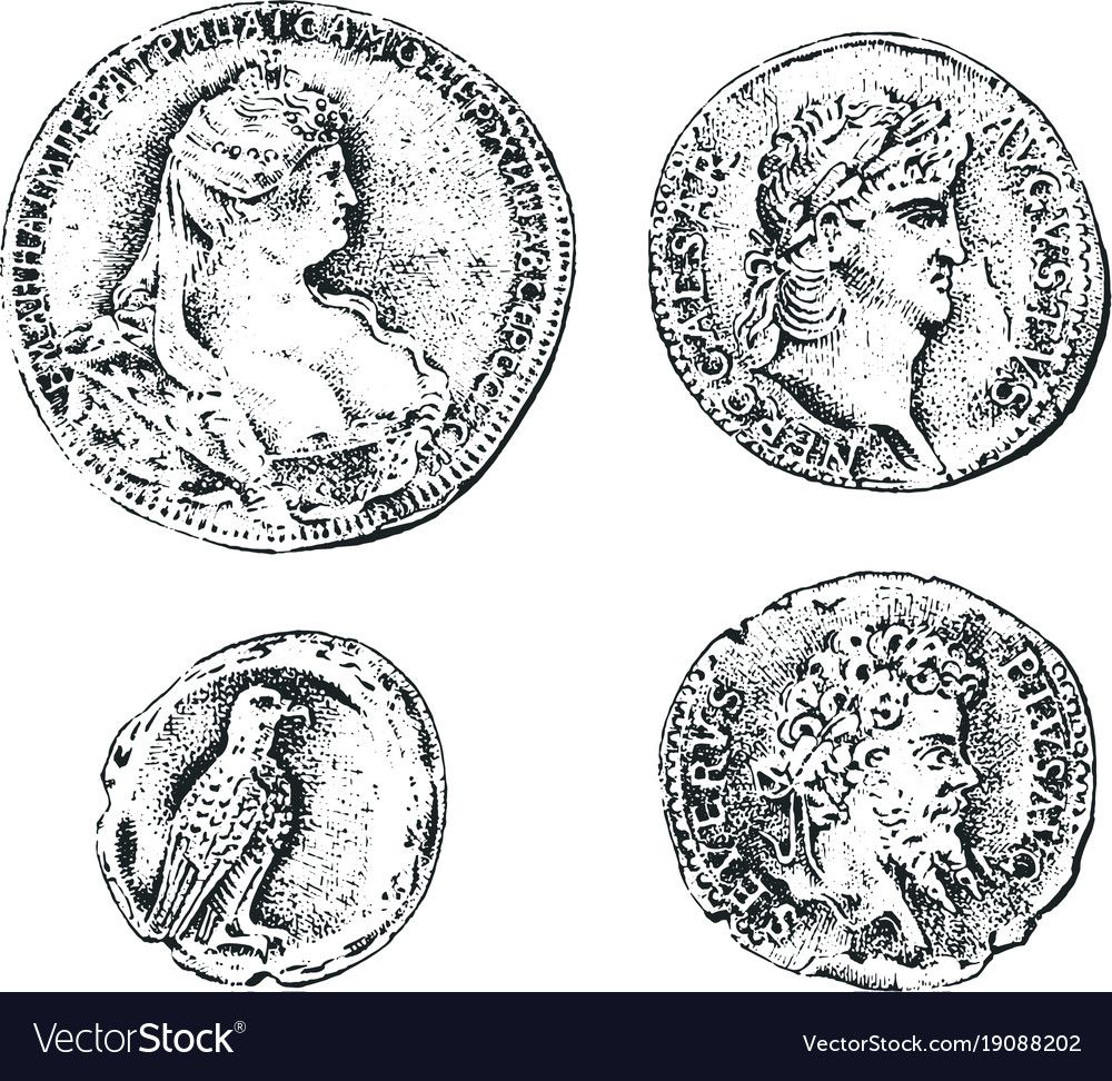 Ancient coins or gold and silver money roman and
