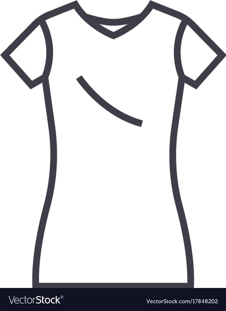 Dress tuniclong skirt line icon sign vector image