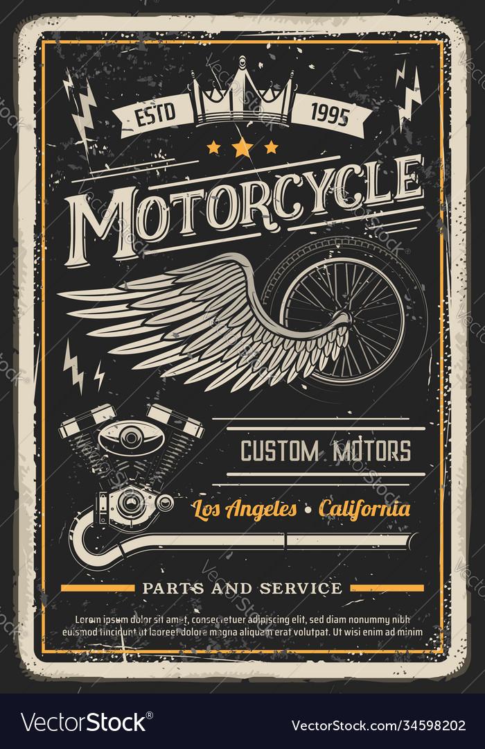Motorcycle poster vintage biker garage chopper