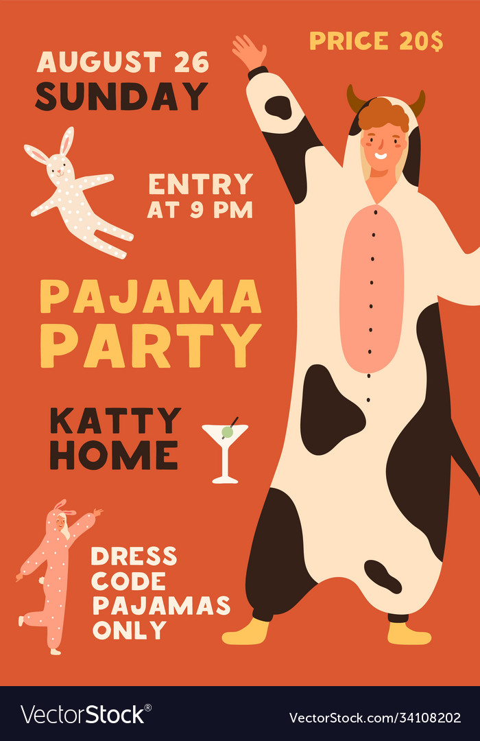 Poster template pajama party with place
