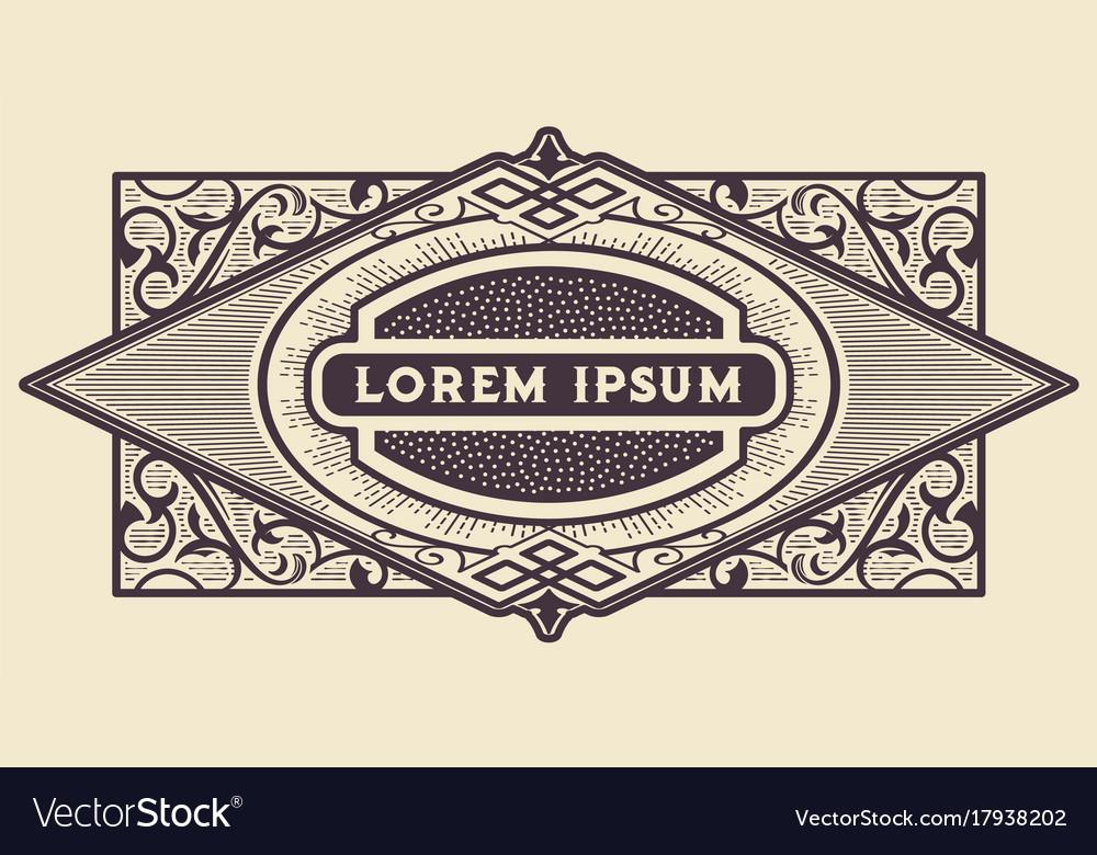Western frame border vintage label hand drawn Vector Image