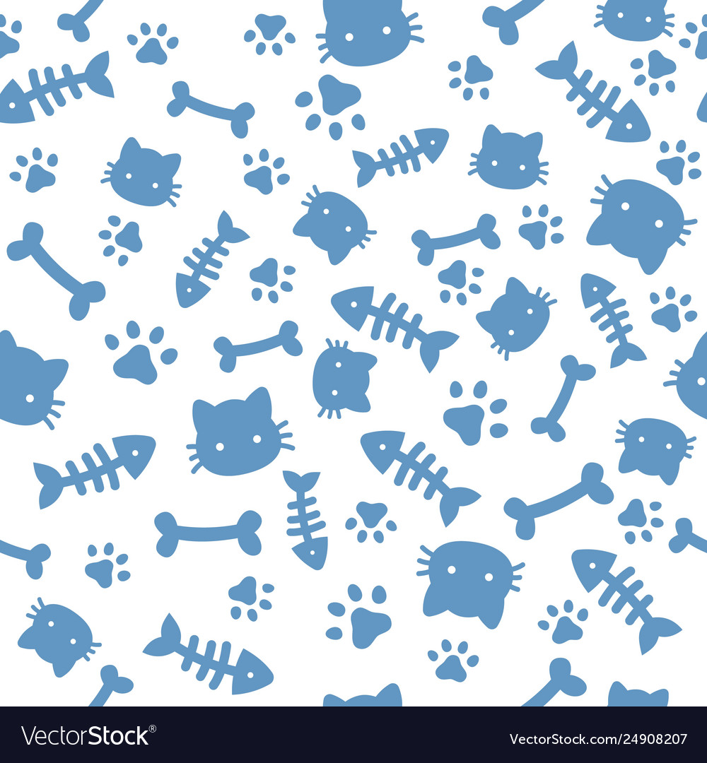 Cat boy pattern blue paw animal footprints
