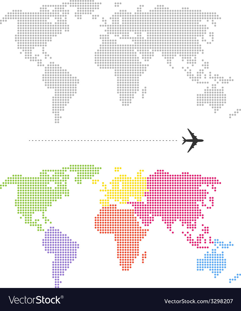 Color dotted world map royalty free vector image color dotted world map vector image gumiabroncs Images