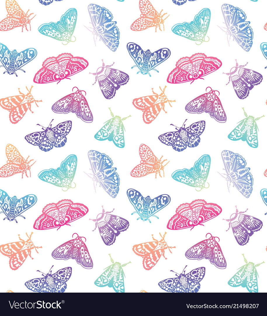 Colorful moths seamless pattern decorative hand