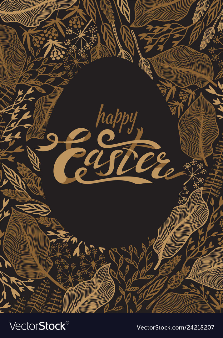 Easter greeting card easter lettering in gold on