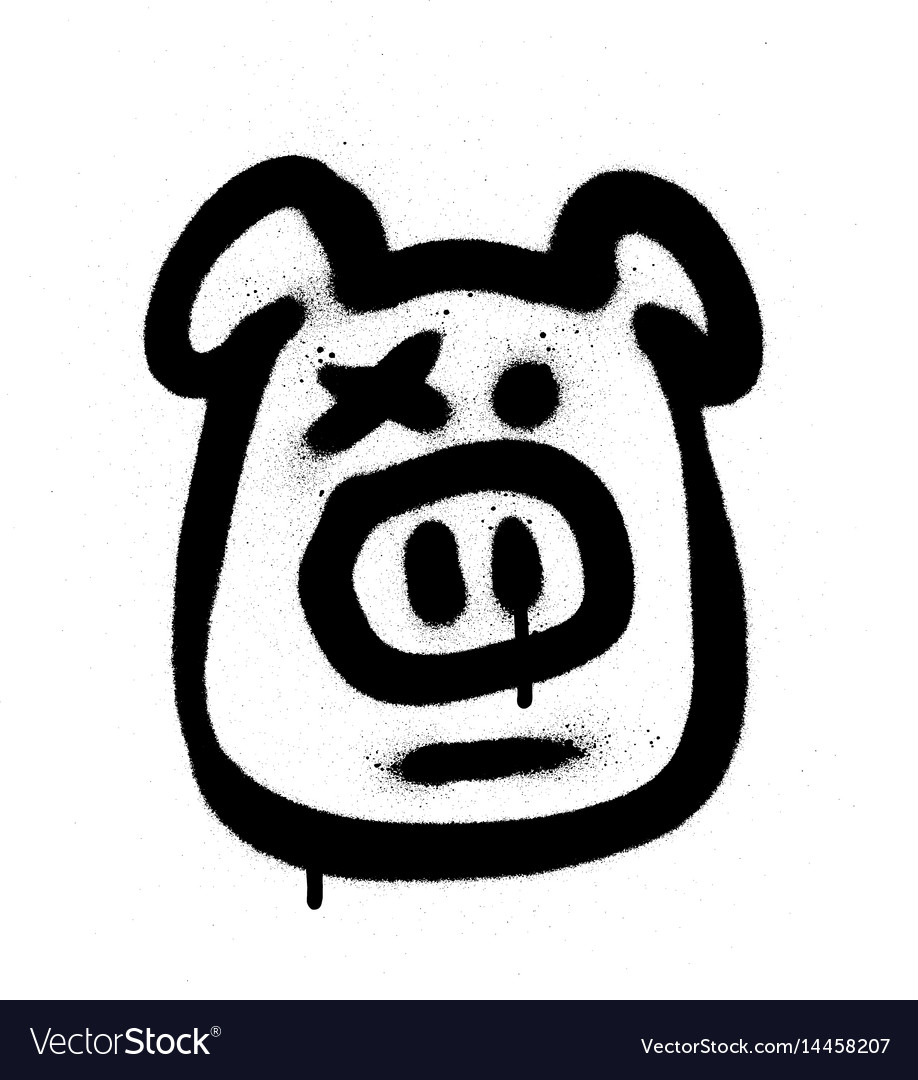 Graffiti hog sprayed in black on white vector image