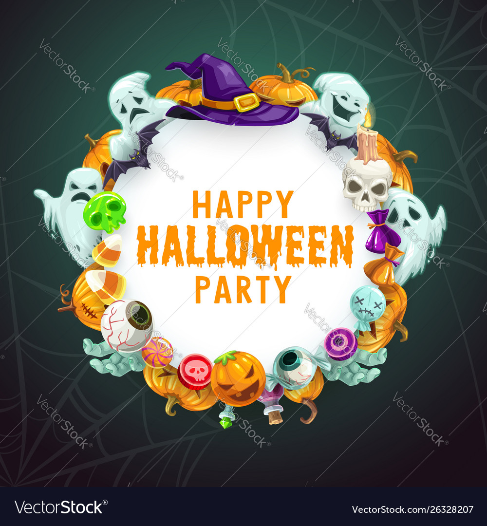 Halloween trick or treat party witch monsters