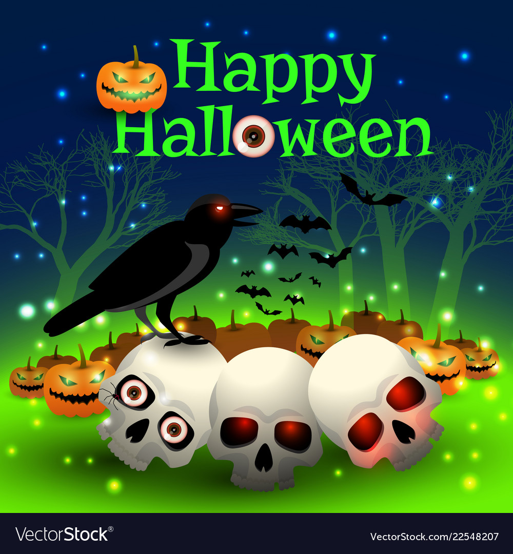 Happy halloween in magic forest