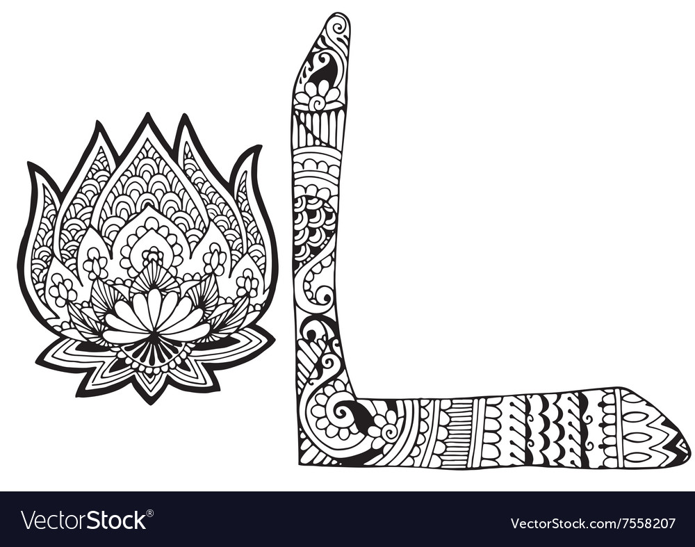 Letter L decorated in the style of mehndi vector image