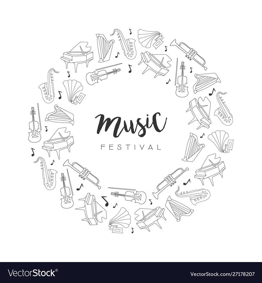 Music festival round frame hand drawn musical