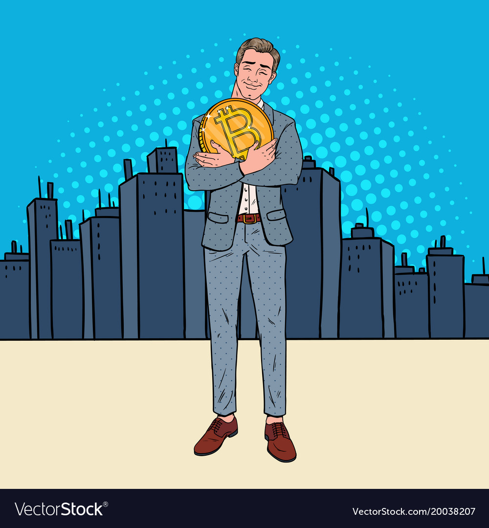 Pop art happy businessman holding big bitcoin coin vector image