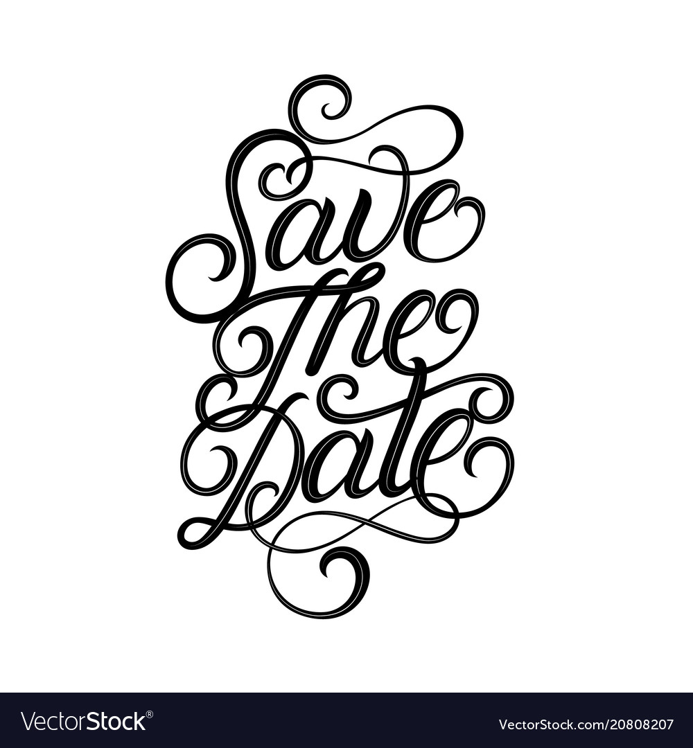 Save the date hand written lettering