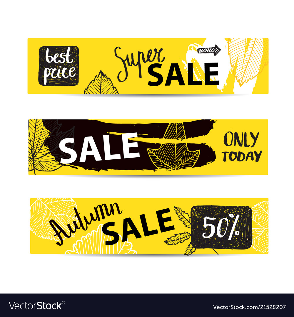 Set of autumn sale banners with hand drawn