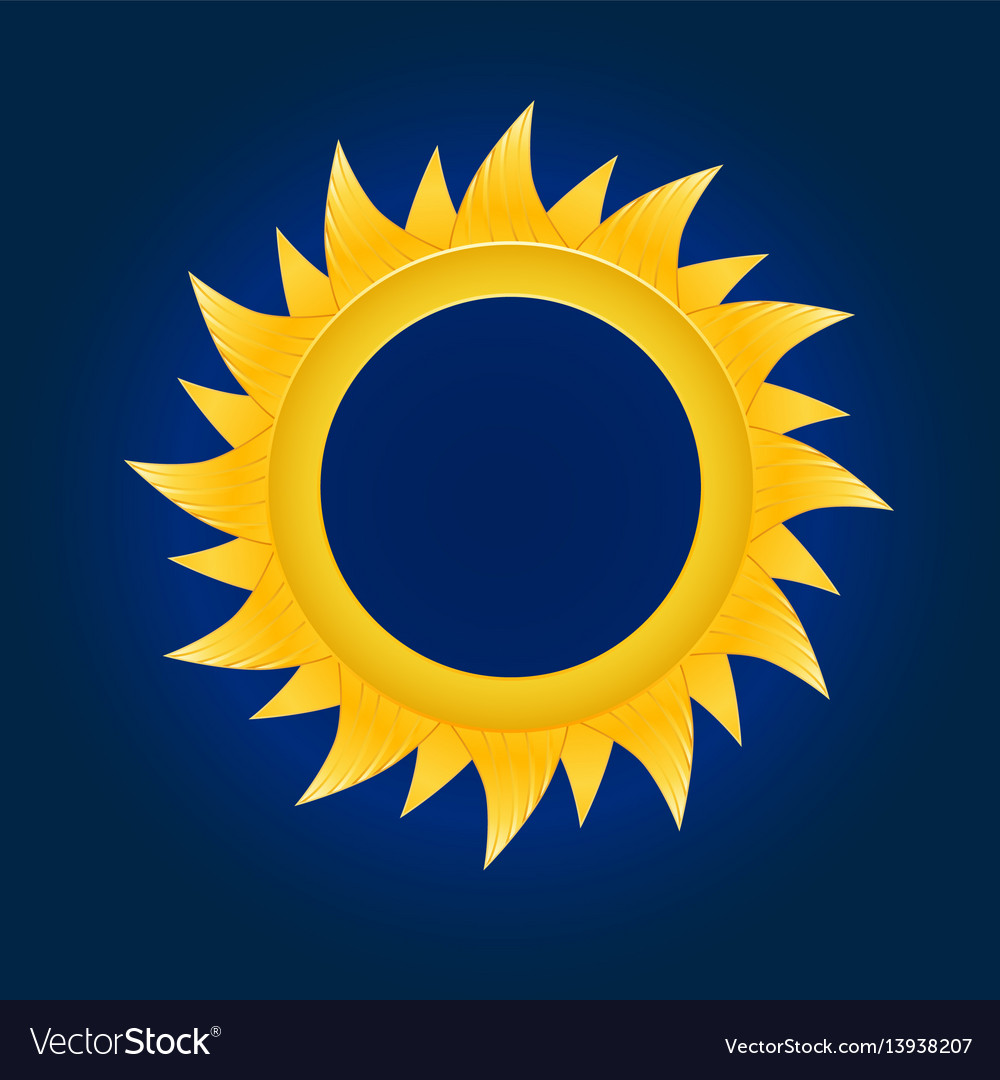 The sun circle on blue sky background