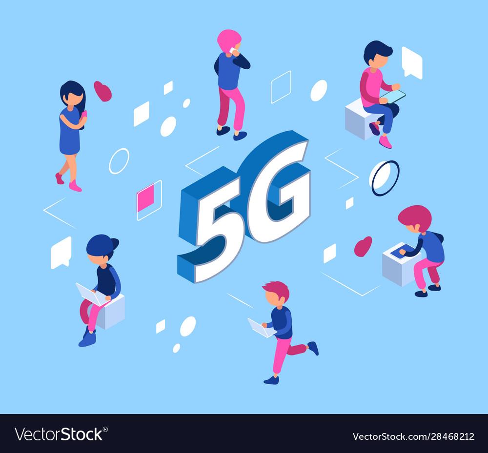 5g network concept isometric 5g wifi net