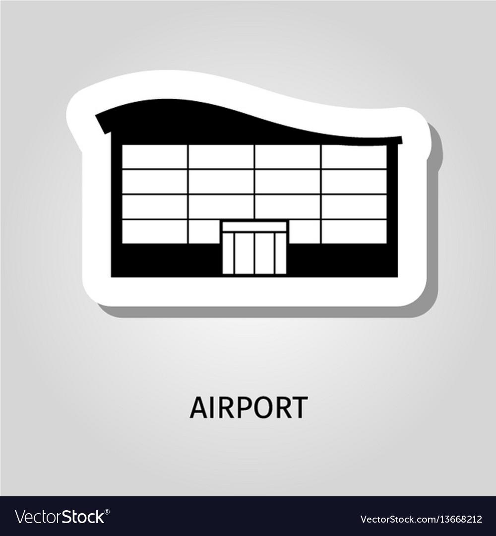 Airport black silhouette building sticker
