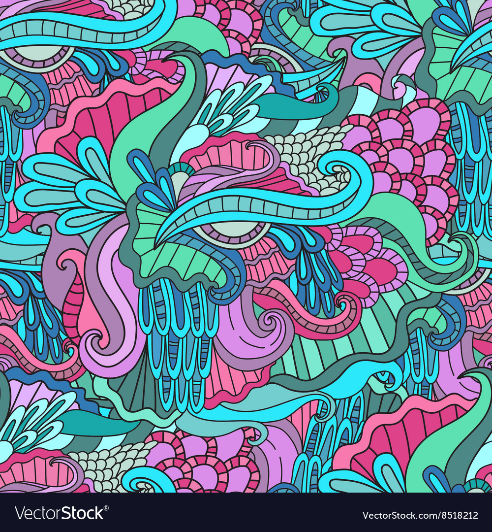 Colorful decorative seamless hand drawn doodle