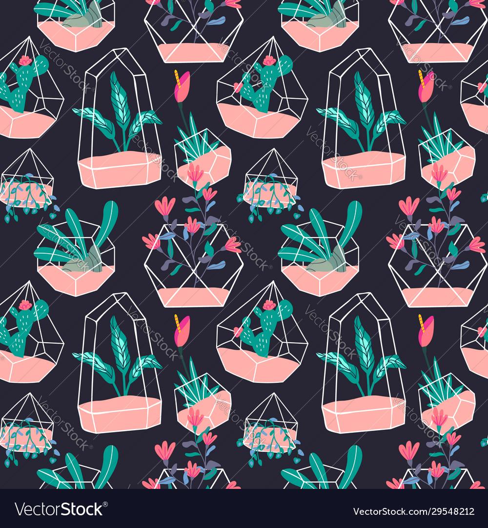 Cute terrarium flower plant seamless pattern