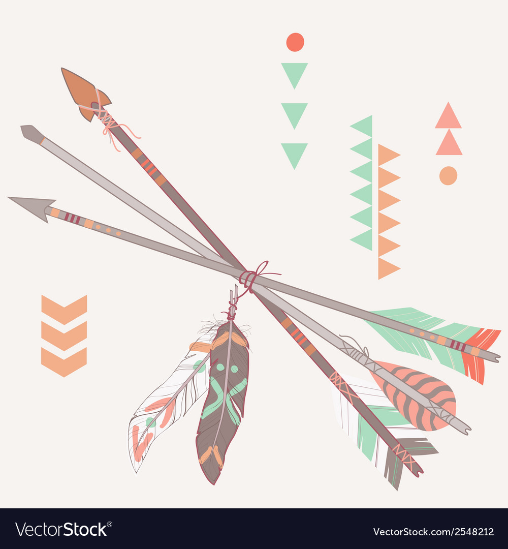Different ethnic arrows with feathers