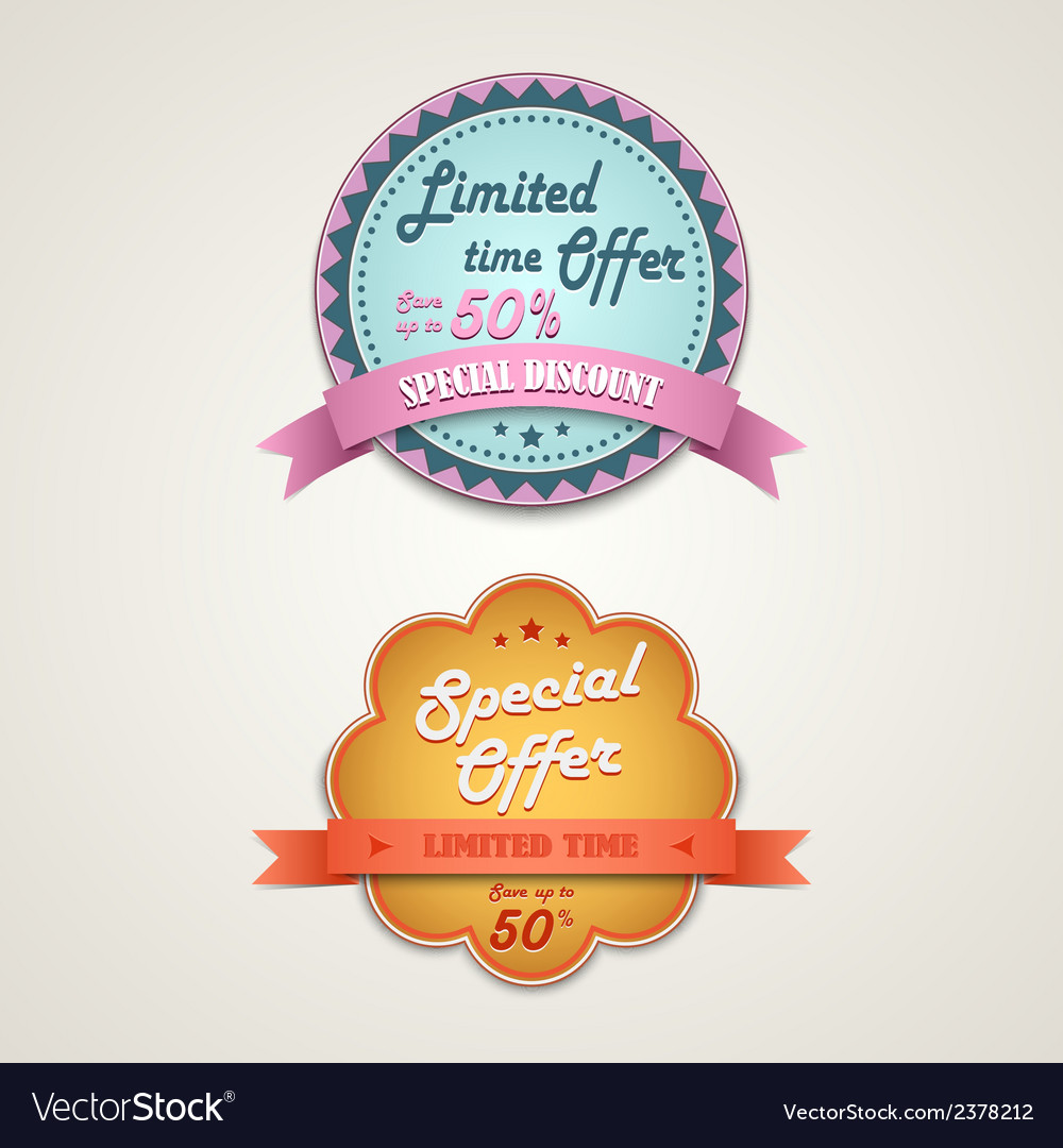 Discount vintage retro design style element vector image