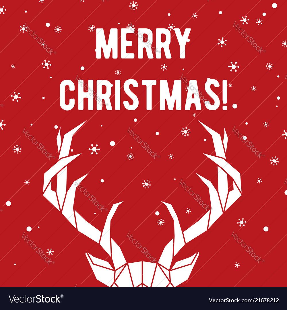 Geometric deer horns merry christmas greeting
