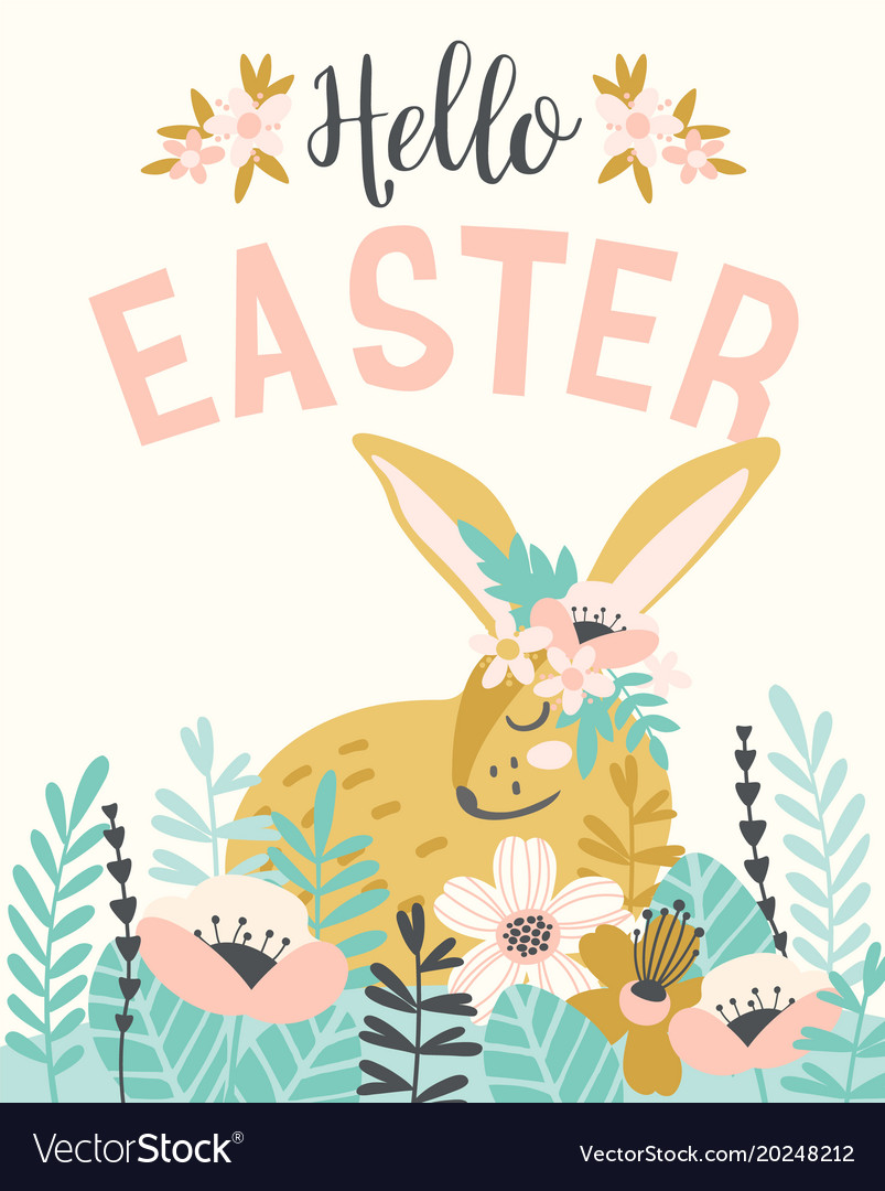 happy easter template with easter bunnie vector image