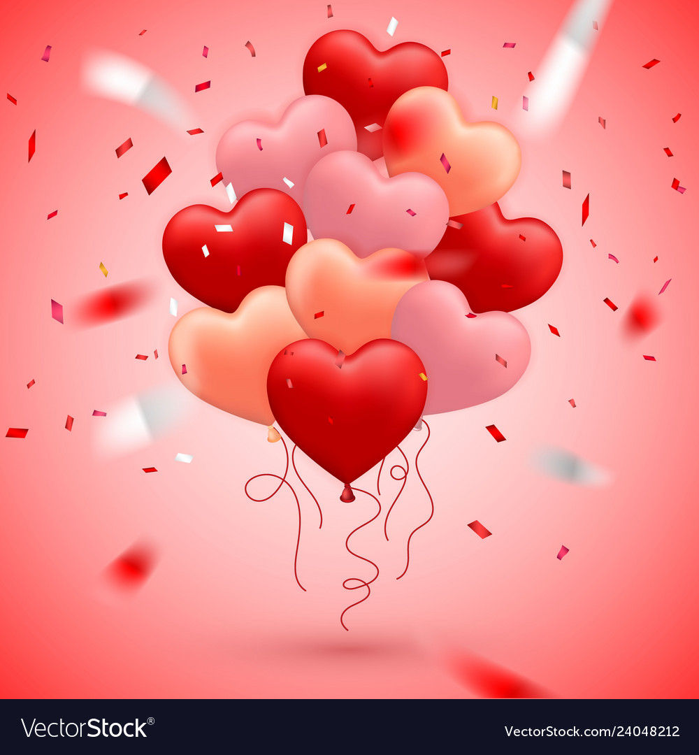 Happy valentines day red pink and orange balloon