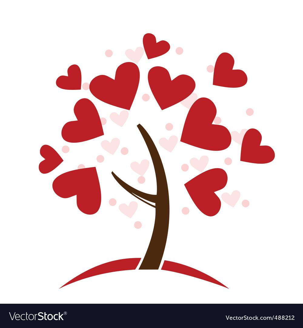 Love hearts tree vector image