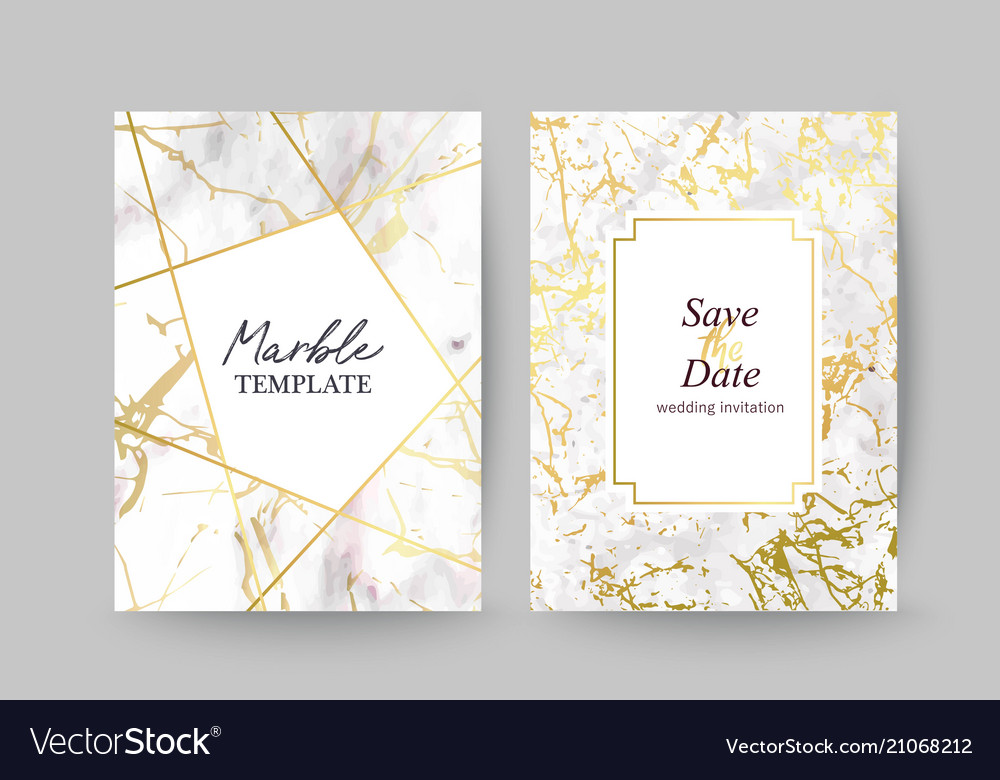 Marble gold texture card wedding invitation vector image stopboris Images