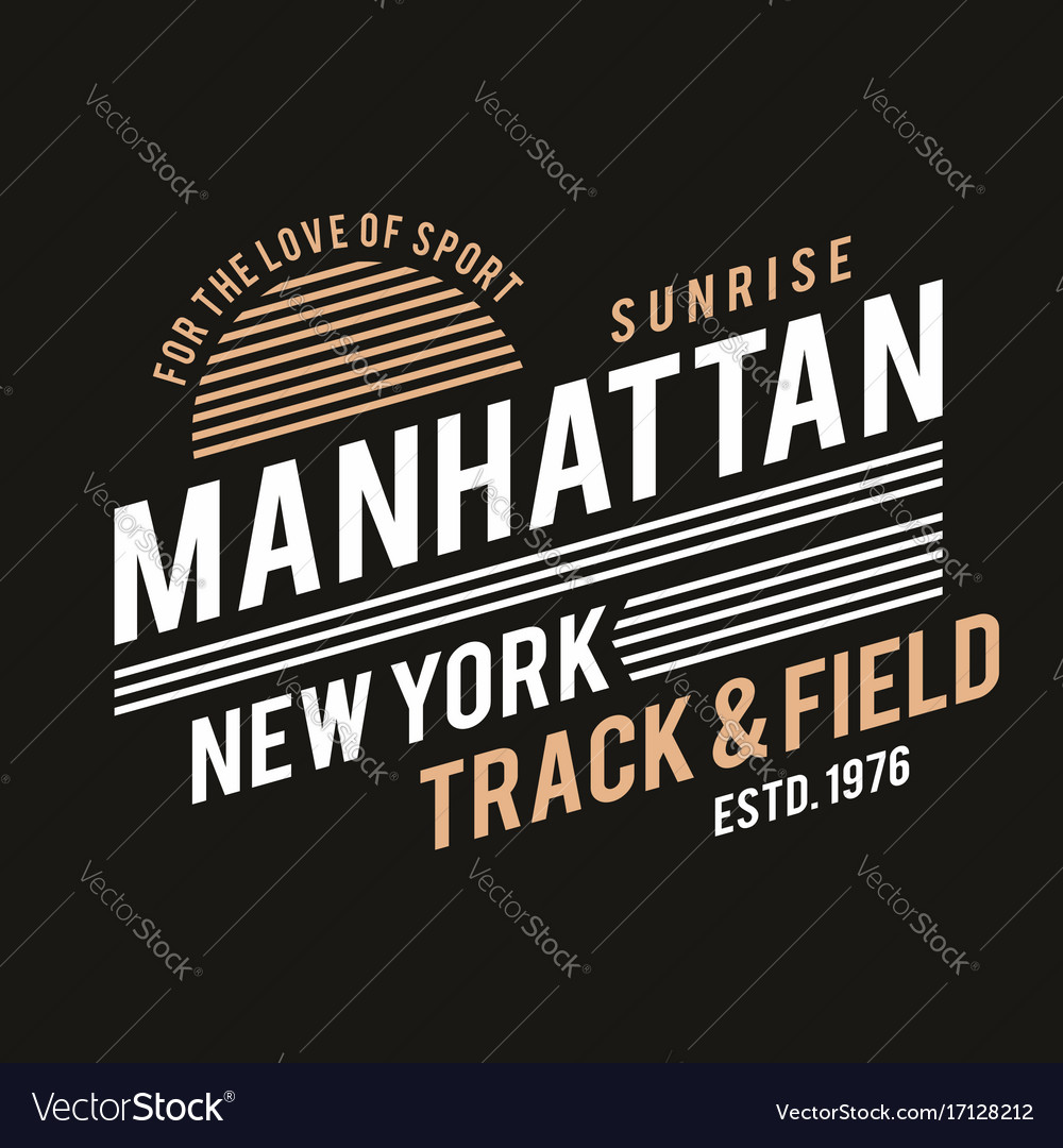 New York Typography For T Shirt Print Track And Vector Image