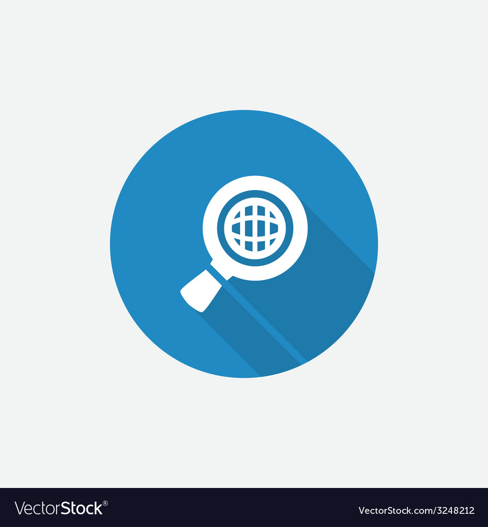 Search globe Flat Blue Simple Icon with long