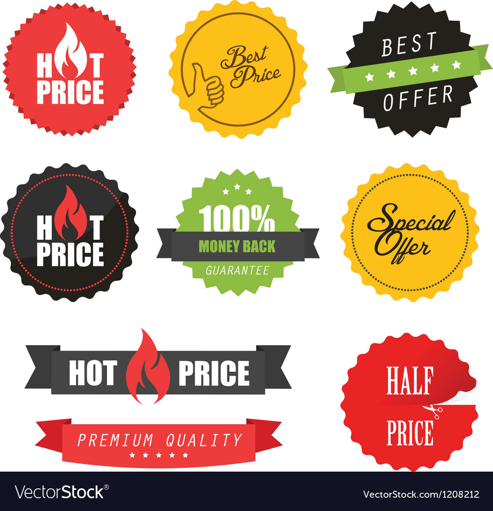 Set of commercial sale stickers and labels vector image