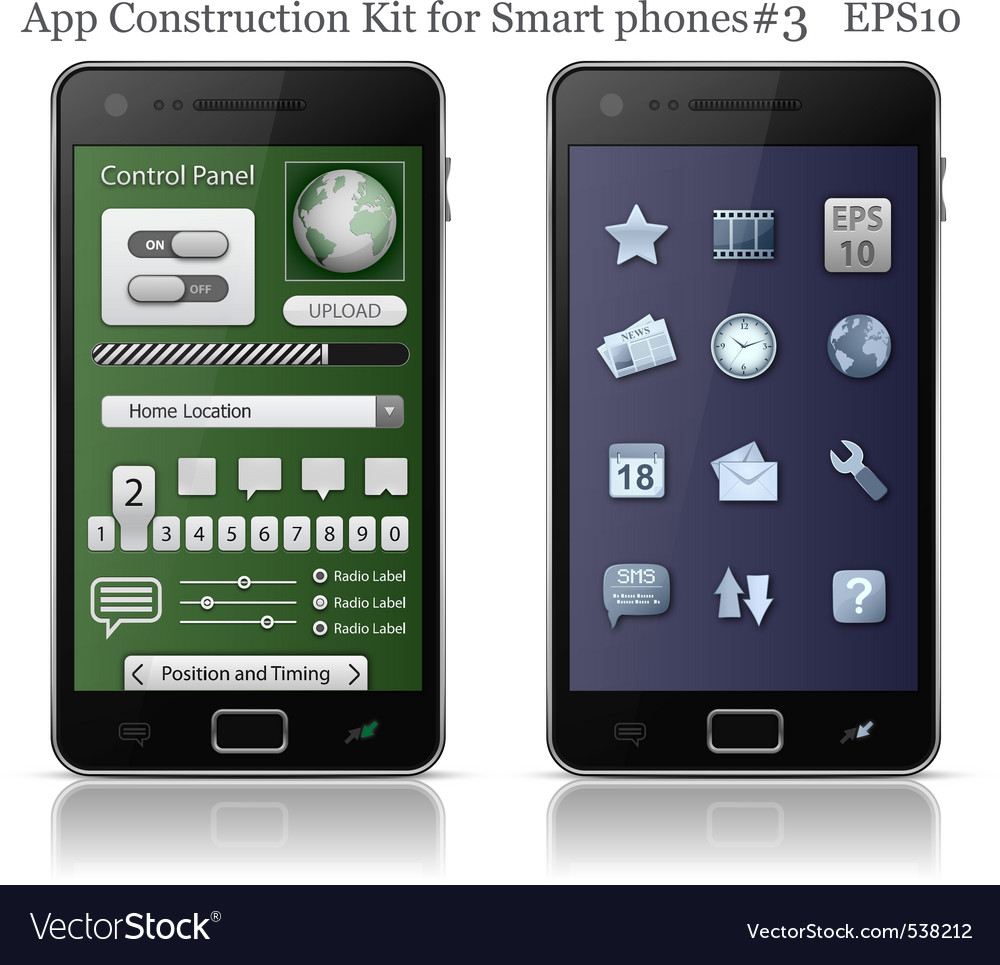 Ui elements for smart phone vector image
