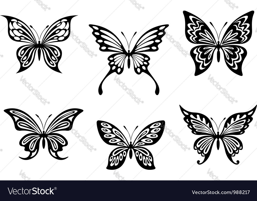 7a62163bee441 Black butterfly tattoos Royalty Free Vector Image