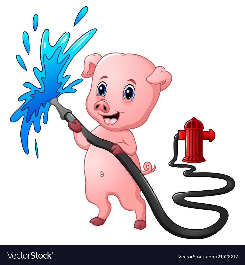 Cartoon pig with hose spraying water and fire hydr