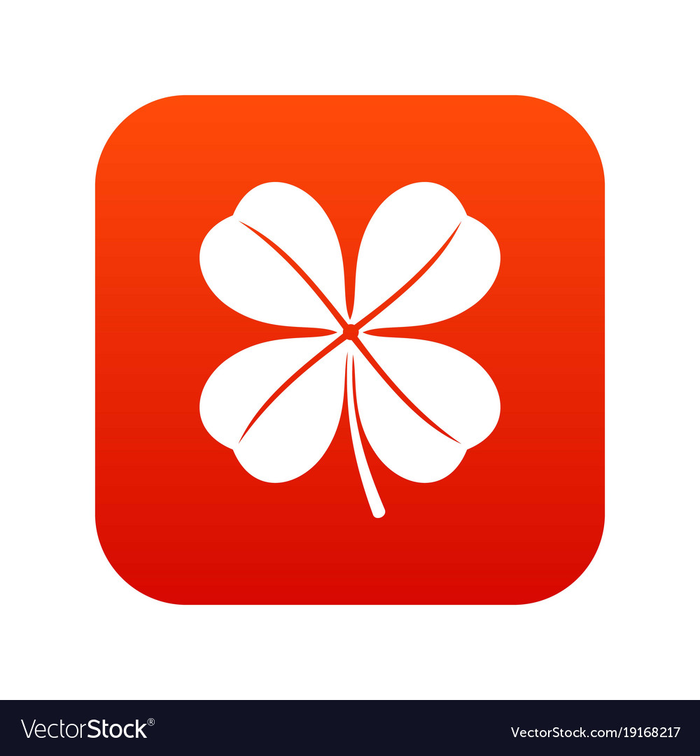 Clover leaf icon digital red vector image