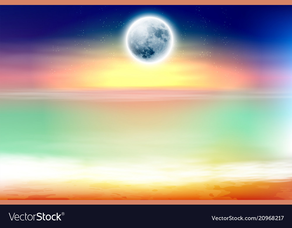 Colorful beach with full moon at night