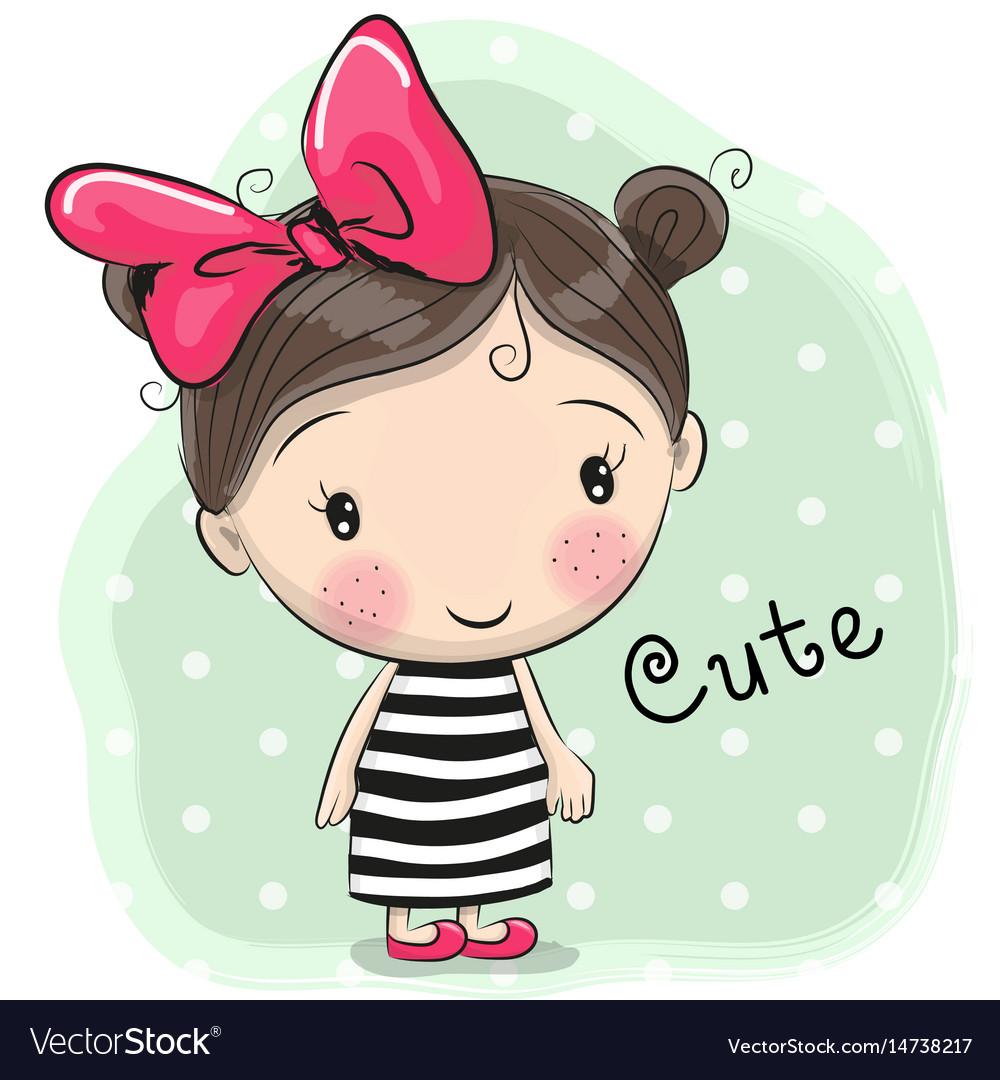 cute cartoon girl royalty free vector image - vectorstock