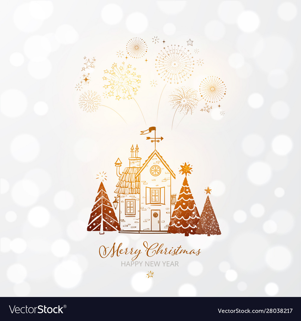 Firework in sky small snow covered house and
