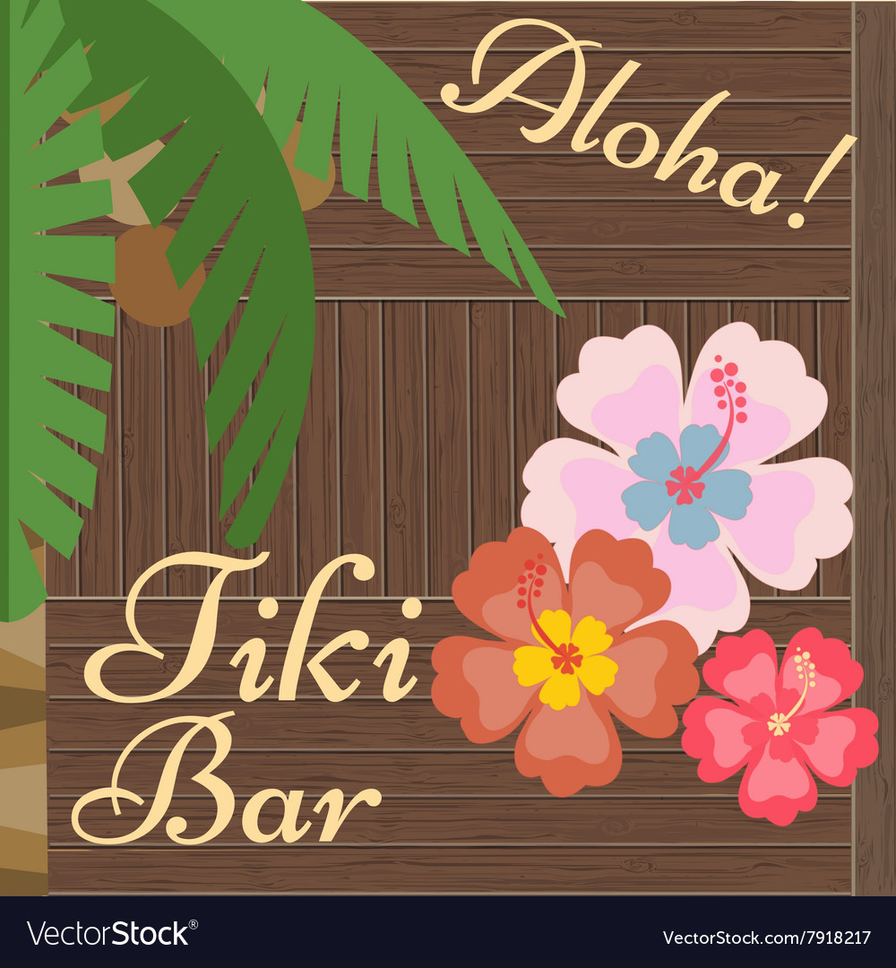 Hawaii Bar Poster Tiki Bar vector image