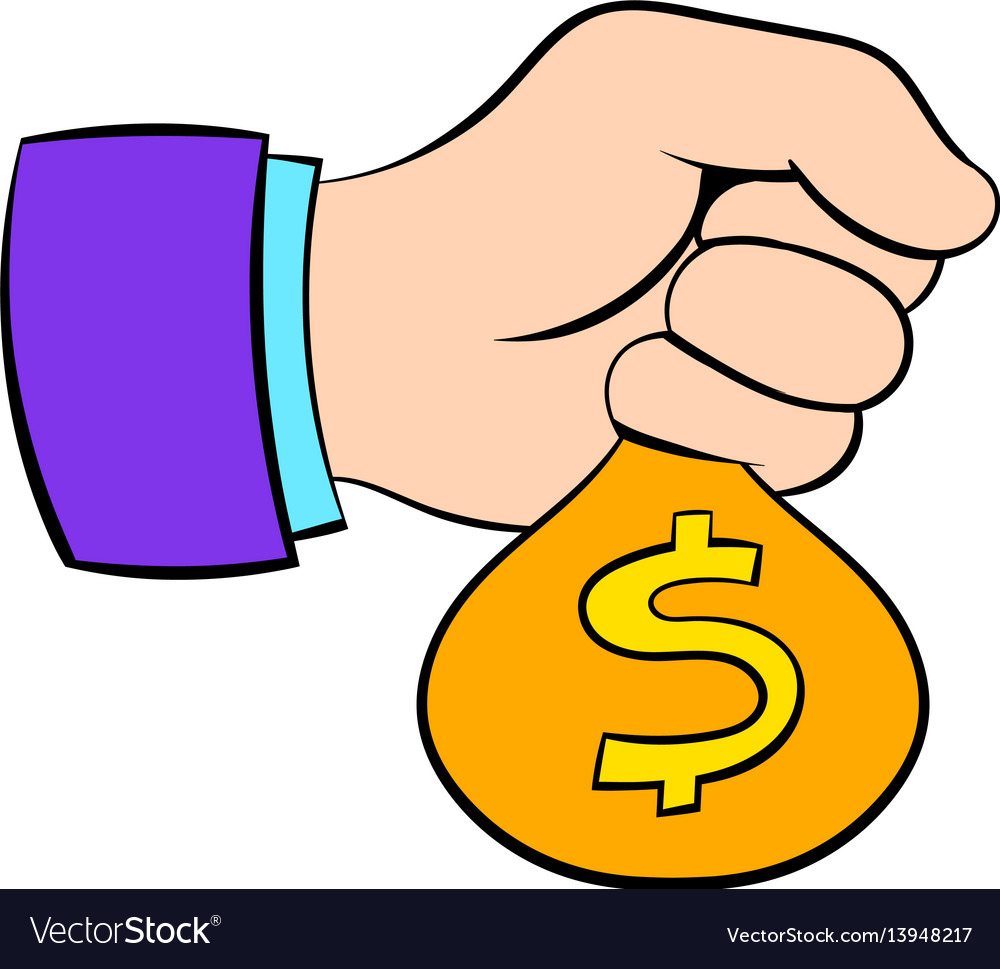 Money in hand icon cartoon