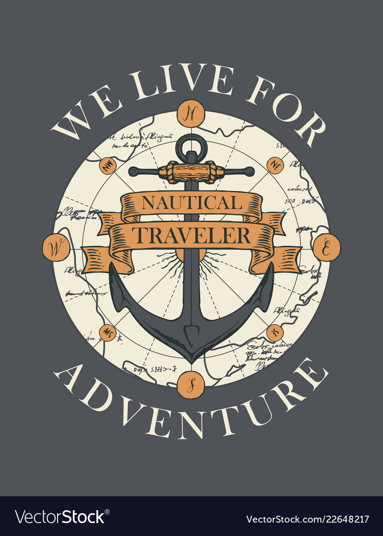 Retro travel banner with a ship anchor and map