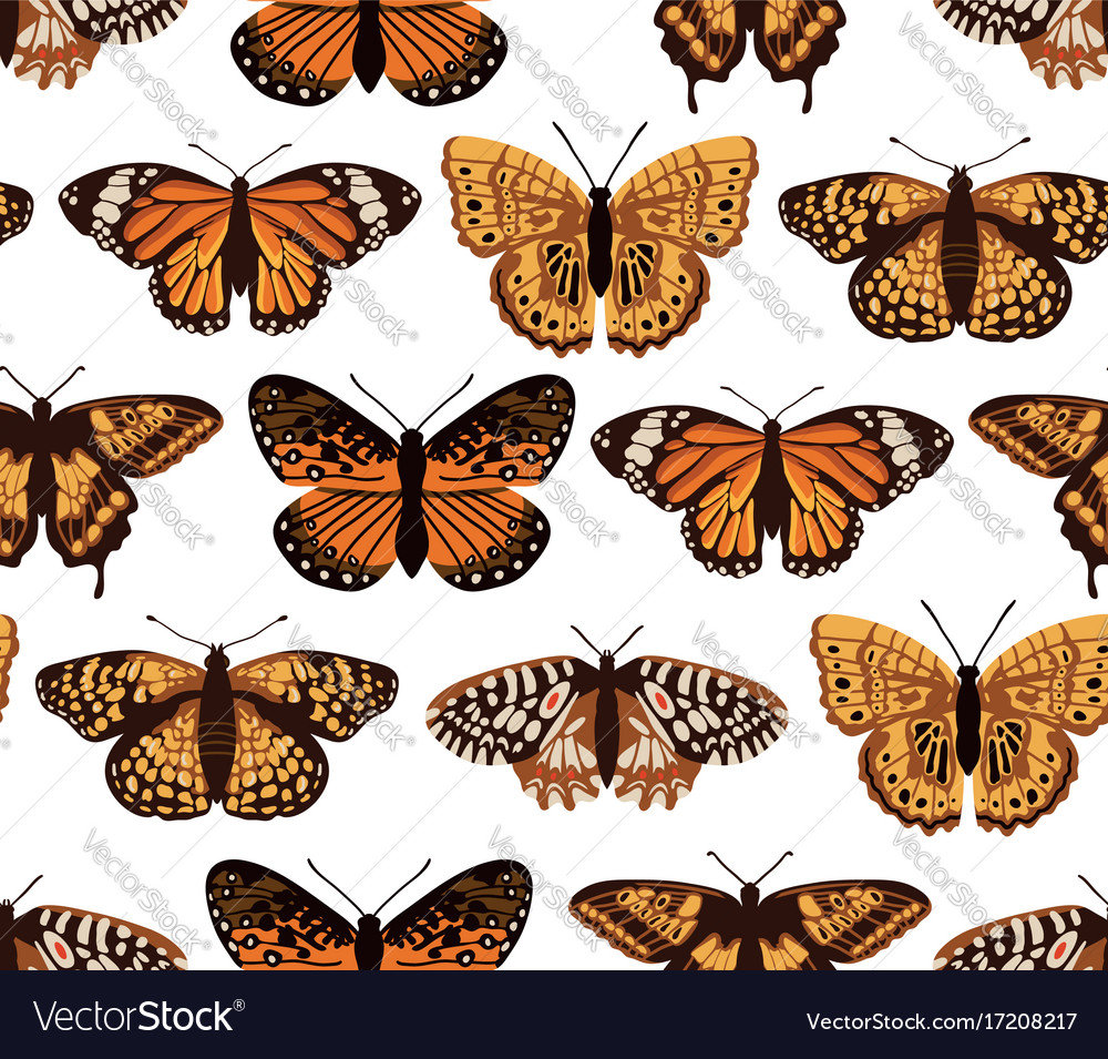 Seamless pattern with bright butterflies hand