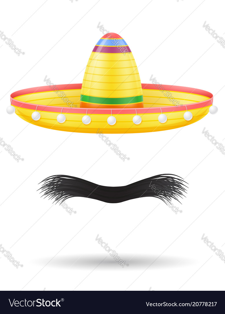 Sombrero national mexican headdress and mustache