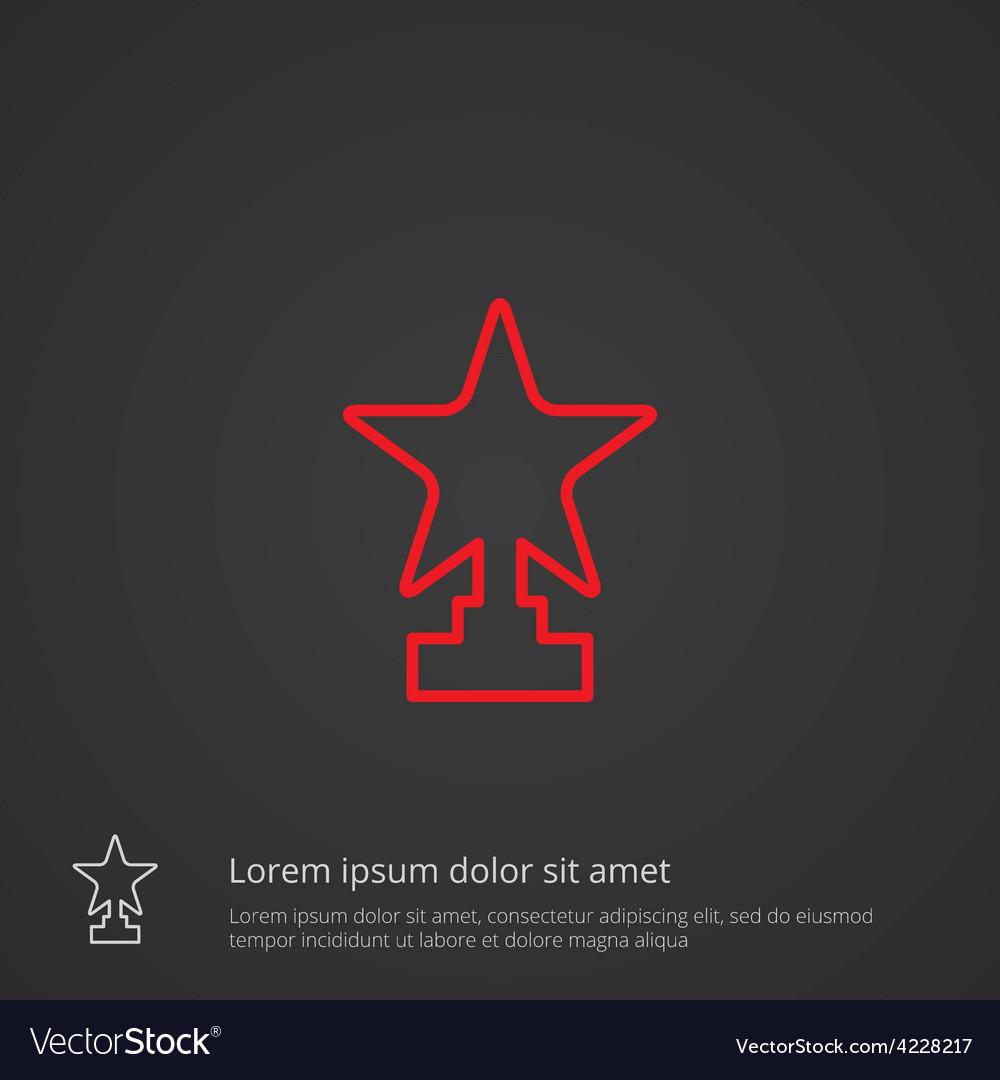 Star outline symbol red on dark background logo