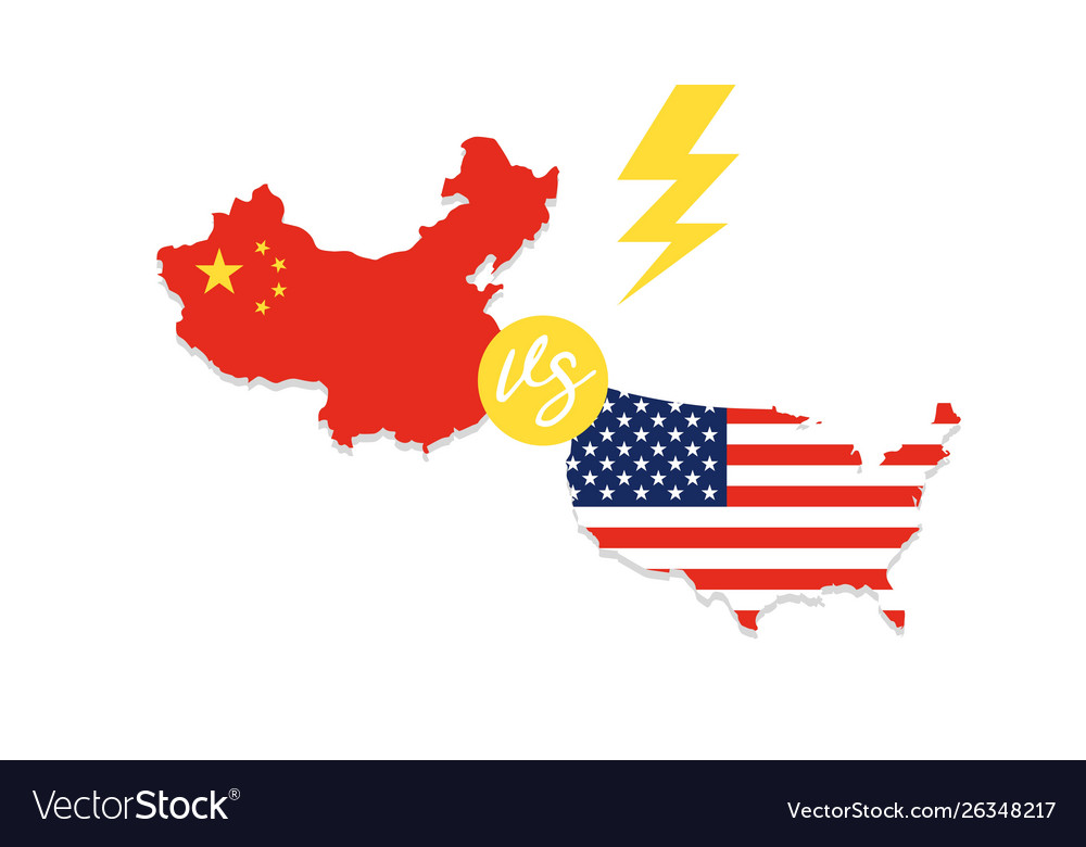 Map Of China And Us United states map and china map Royalty Free Vector Image