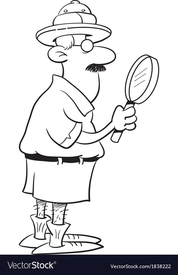 Cartoon Explorer Holding a Magnifying Glass vector image